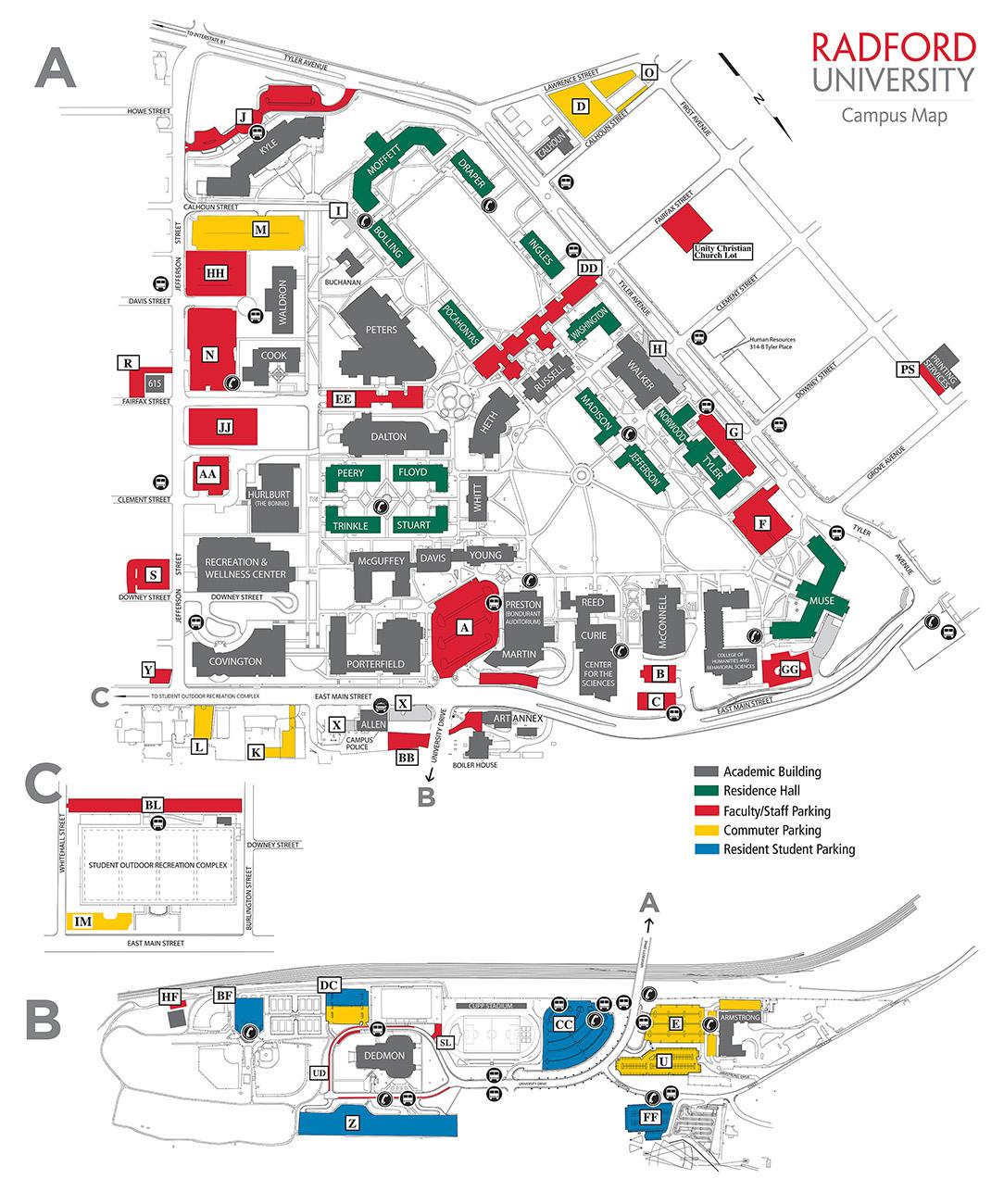 Radford University Campus Map Radford Campus Map | Earth Map